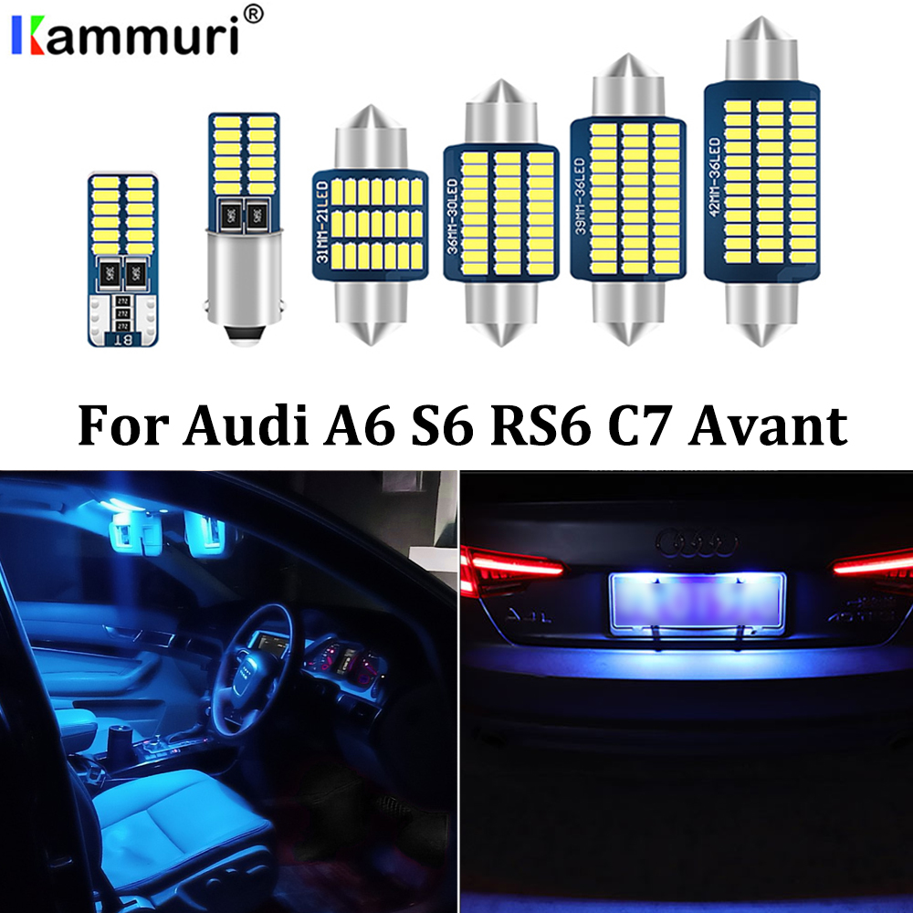KAMMURI 19Pcs License plate lamp + Reading LED bulb interior dome light kit package for Audi A6 S6 RS6 C7 4G Avant Wagon (2012+) image