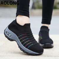2022 Spring Women Breathable Shoes Woman Flat Slip on Platform Tenis for Women Mesh Sock Sneakers Shoes zapatillas aire mujer 1