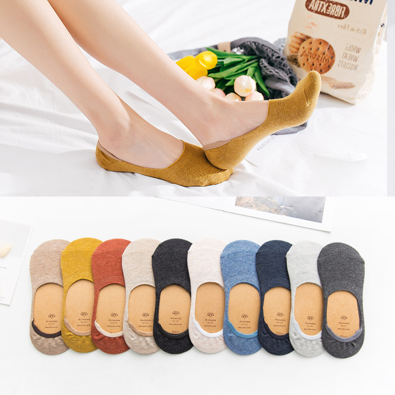 1/3Pair Invisible Boat Socks For Women Spring Summer Short Cotton Ankle Socks Casual Solid Color Striped Thin Mesh Low Cut Socks
