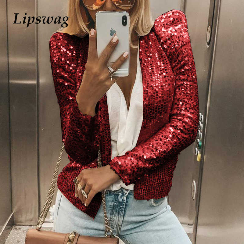 Sequined Shiny Long Sleeve Women Jacket 2019 Autumn Winter Stand-Collar Coat 2XL Elegant Female Glitter Solid Color Outwear Tops