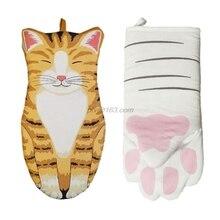Baking-Insulation-Gloves Oven Mitten Microwave Cat-Paws Heat-Resistant Cotton Non-Slip