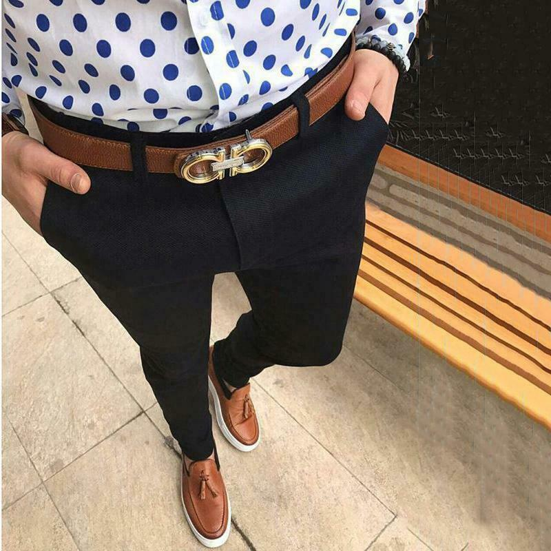 Hot Fashion Men's Slim Fit Business Formal Pants Cotton Mid Rise Bottoms Plus Size Casual Office Skinny Straight Solid Trousers 4