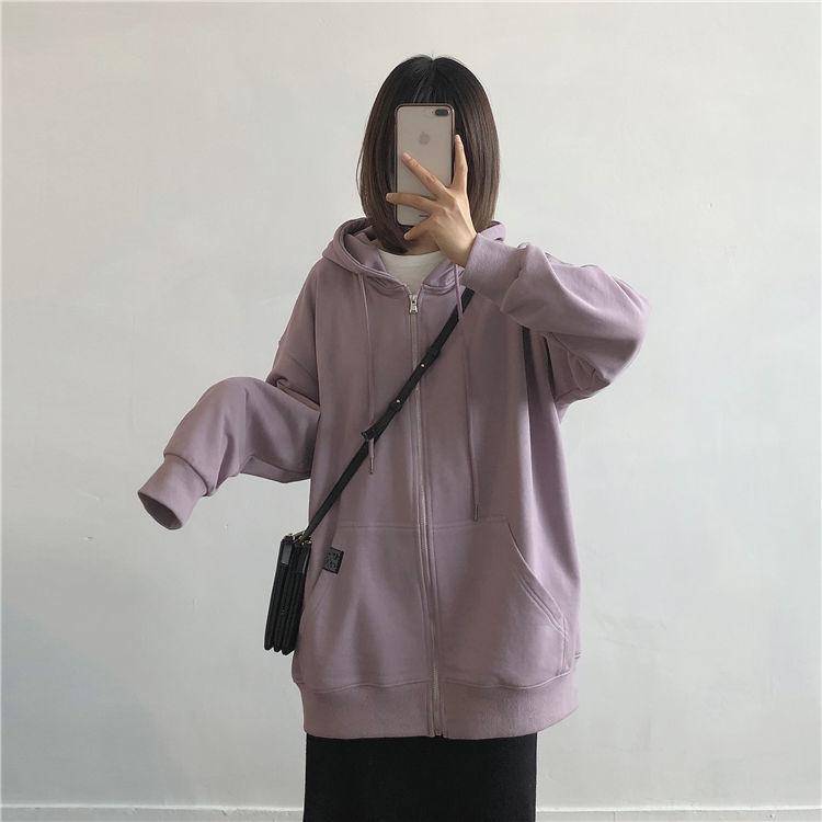 H9ad25dbb15a24081bacdbb438d6836ecI Harajuku with hat hoodies women zipper kangaroo pocket casual loose solid color sweatshirt female 2020 fashion new female s