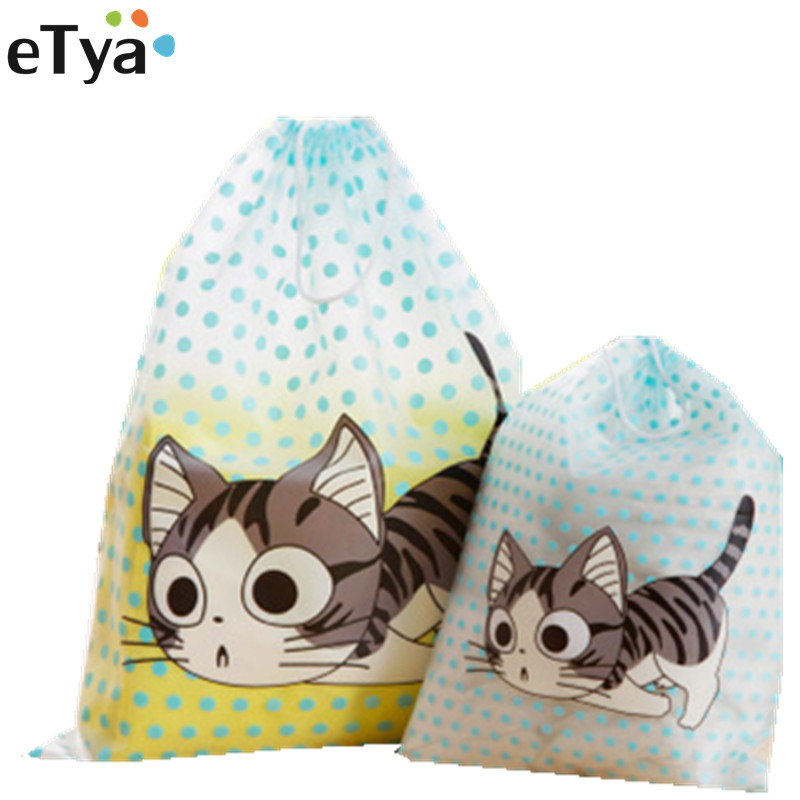 ETya Travel Cartoon Cute Packing Organizers Women PVC Waterproof Cosmetic Makeup Clothes Case Pouch Toiletry Bag