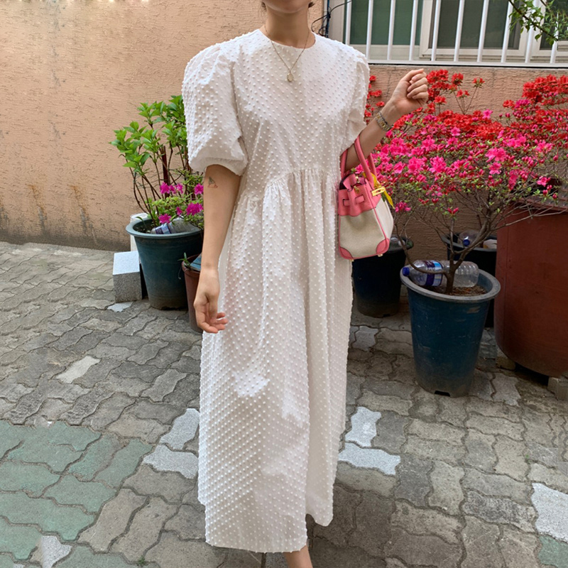 Vinatge Women Long Dress Summer 2021 Casual Puff Sleeve Oversize Dress Women Elegant Korean Female Dress Loose Vestidos New 9941 7