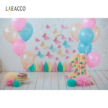 Laeacco Baby 1st Birthday Balloons Flowers Butterflies Party Photo Backgrounds Customized Photographic Backdrop For Studio