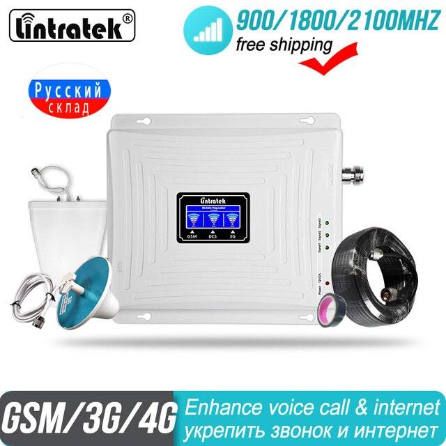 4G מגבר אות GSM 2G 3G 900 1800 2100 מהדר WCDMA תלת להקת Lintratek kw20c gdw סלולארי נתונים LTE טלפון סלולרי מגבר #50