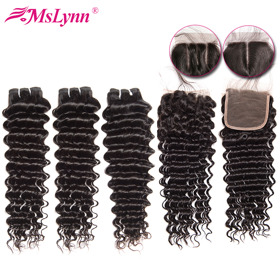 Deep Wave Bundles With Closure Brazilian Hair Weave Bundles With Closure Remy Human Hair Bundles With Closure Mslynn Hair
