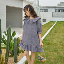 Black Brown Plaid 100% Cotton 2020 Summer Dress Girl Clothes Teen Girls Clothing Mother And Daughter Dresses With  Sleeve  Dress jilly children girls clothing black and white stripes summer girl dress 100