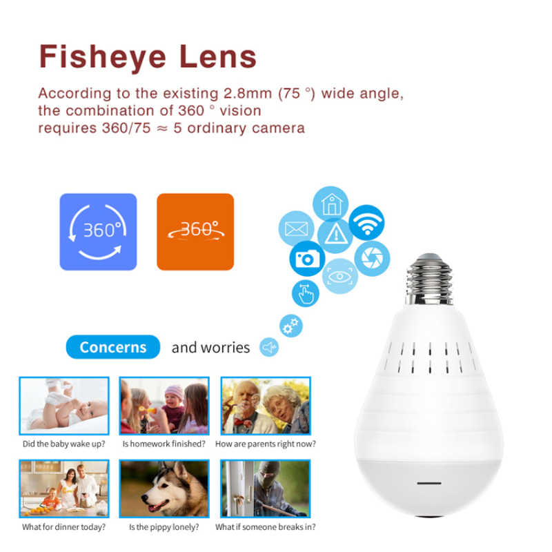 360 Degrees 960P Wifi Panoramic Camera Bulb Fisheye Wireless Home Security Video Surveillance Night Version Two Way Audio