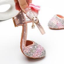 Обувь для вечеринок для девочек; сандалии принцессы; кожаные блестящие стразы; детская обувь с бантом; кроссовки «Эльза»; Детский Рождественский подарок