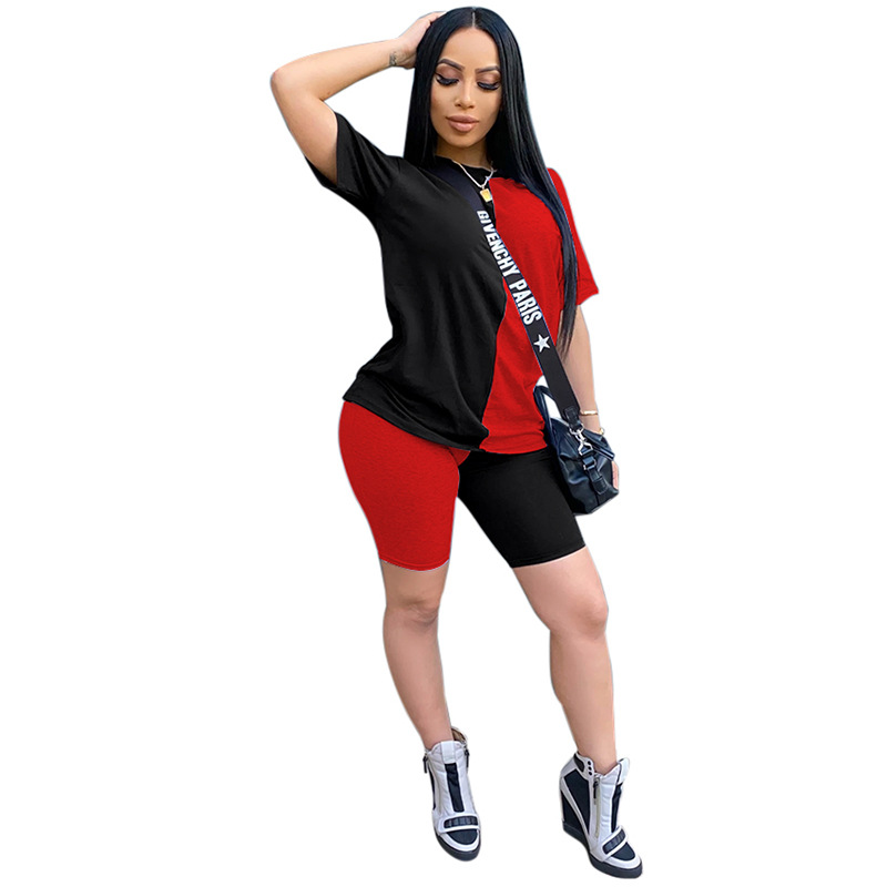 2020 Women Sets Summer Tracksuits Patchwork Sportswear Tops + Shorts Two Piece Suit Set Club Party Street 2 Pieces Sexy Outfits 4