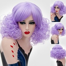 цена на GAKA Short Curly Women Synthetic Cosplay Purple White Blonde Wig with Side Bang Heat Resistance Fiber
