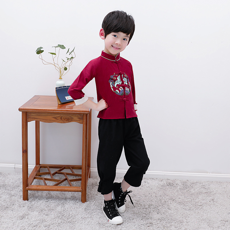 Children Chinese Clothing Autumn Chinese-style Childrenswear Cotton Linen Long Sleeve Children Chinese Costume Ethnic-Style Cran