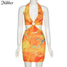 Nibber club Wild Contrast Hollow out woman dresses summer sexy bodycon Patchwork street wear casual low-cut halter Beach dress