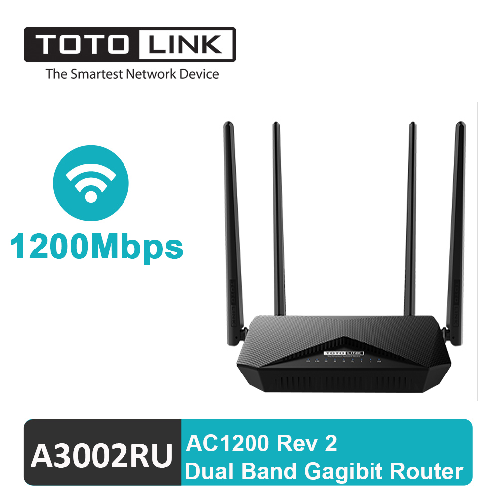 TOTOLINK Router Wireless Repeater 1200Mbps 2.4G 5G Dual Band Gigabit Extender A3002RU With USB 128M RAM 4 Antenna Router
