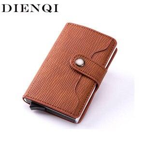 DIENQI Rfid карбоновый держатель для карт, мужские бумажники, тонкий умный минималистичный бумажник, кожаный брендовый маленький кошелек, кошел...