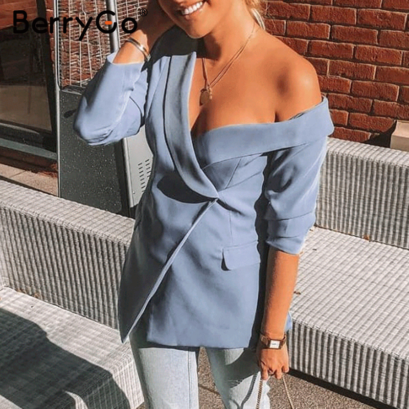 BerryGo Sexy One Shoulder Women Blazers And Jackets Asymmetrical Work Winter Pure Blazers Female 2019 Office Ladies Blazer Coat