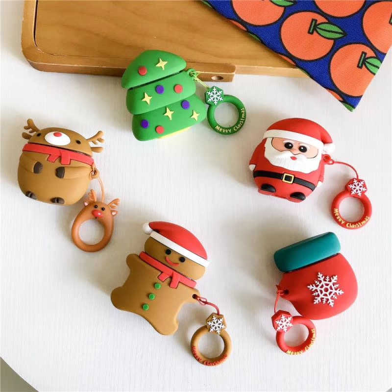 For Apple AirPods 2 1 Earphone Accessories Soft Case For Apple Air Pods 1 Cute Cartoon Merry Christmas Trees Case With Hooks Bag
