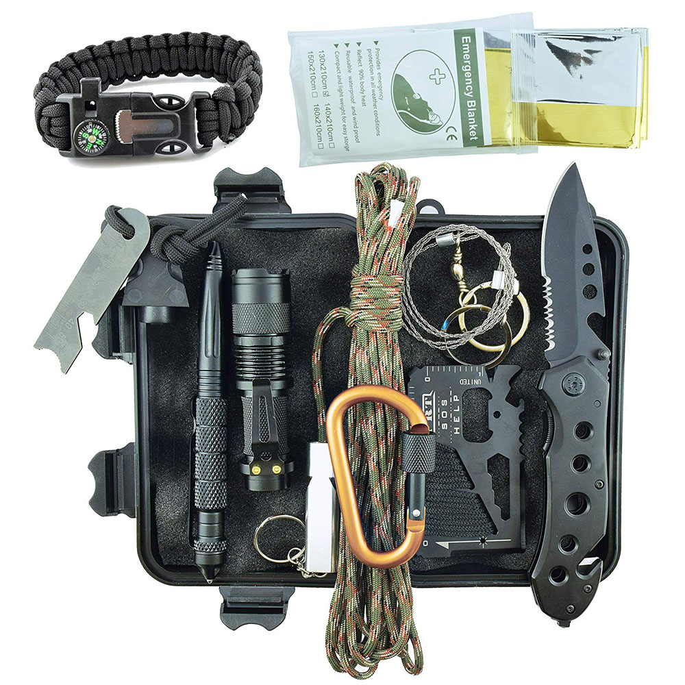 11In1 Professional Military Survival Kit Emergency Mountain Outdoor Hiking Flashlight Tactical Bracelet Paracord Camping Trip