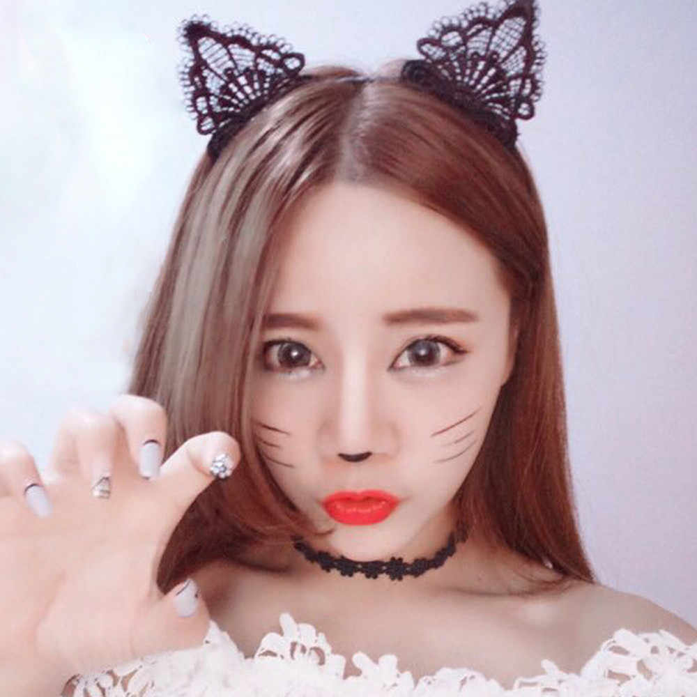 Clothes Accessories Lace Women Sexy Headband 1PC Girls Black Lovely Cat Ear Head Chain Jewelry 20cm Holiday Polyester Headband