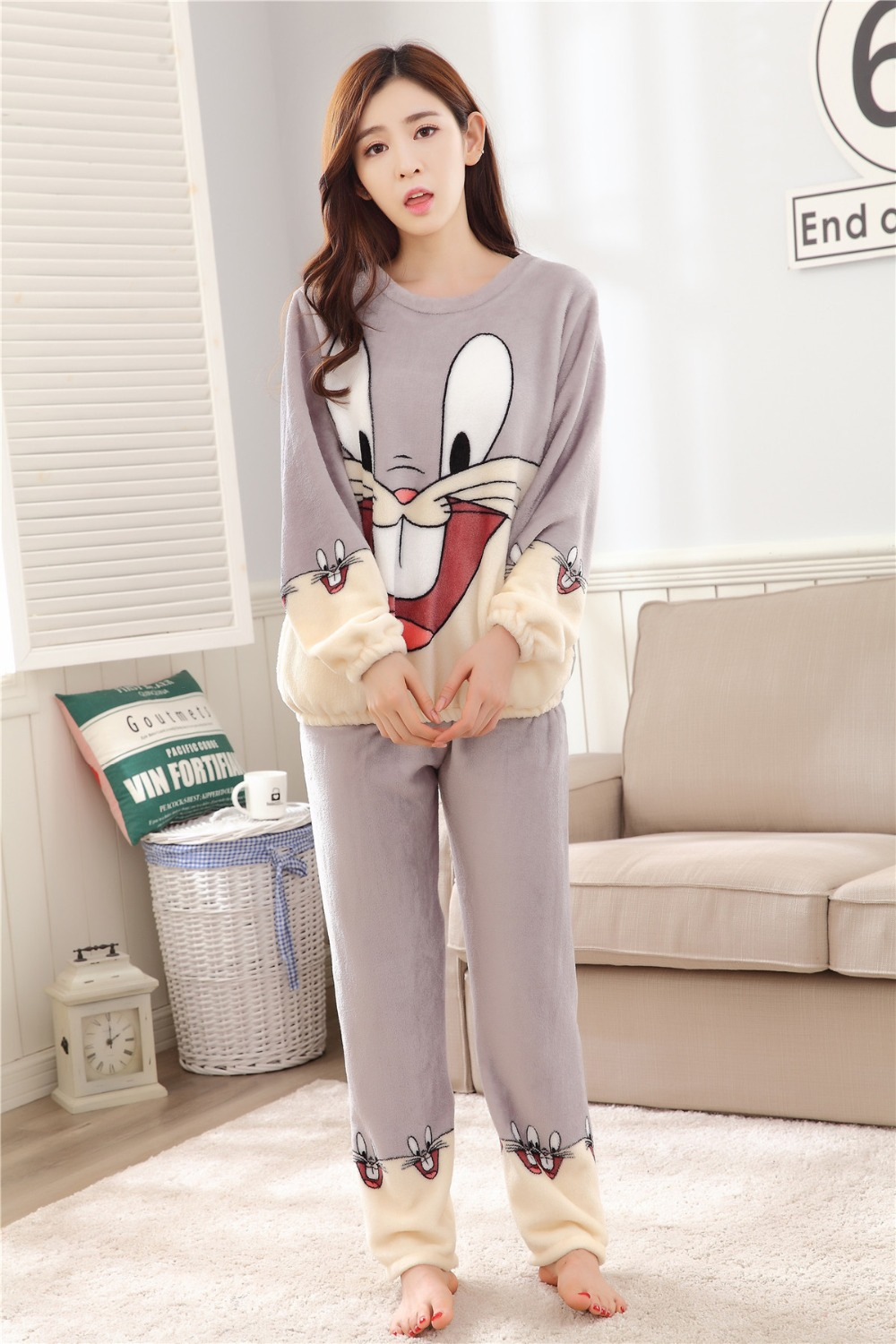 Women Pajamas Set For Autumn cute cartoon pink Women Clothes Sleepwear Nightgown For Women Long Sleeve And Pants Hot Sale pijama 68