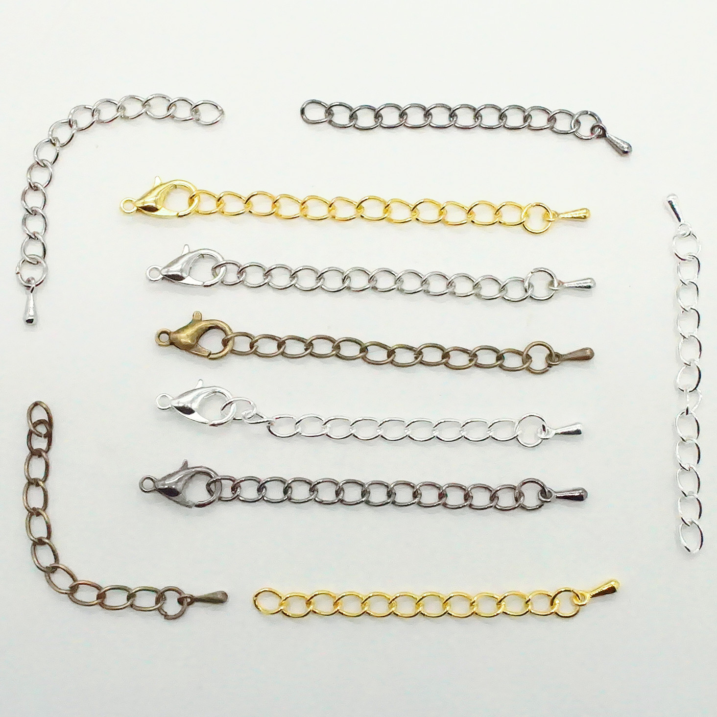 20pcs/lot 5cm 7cm Tone Extended Extension Tail Chain Lobster Clasps Connector For DIY Jewelry Making Findings Bracelet Necklace