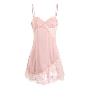 Image 5 - Womens Sexy Lace Sling Sleeping Wear Beauty Back Seduction Nightgowns Female Summer Ice Silk Night Dress Temptation Nightdress