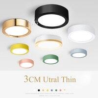 Lámpara LED de techo de colores moderna, foco montado en superficie Led 3W 5W 7W 10W, iluminación ultrafina para dormitorio y sala de estar, 220V