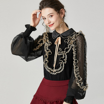 Ruffled Lace Patchwork Women Blouse Dot Mesh Lantern Sleeve Casual Work Blouse Spring Knitted Sweater Perspective Shirt Top фото