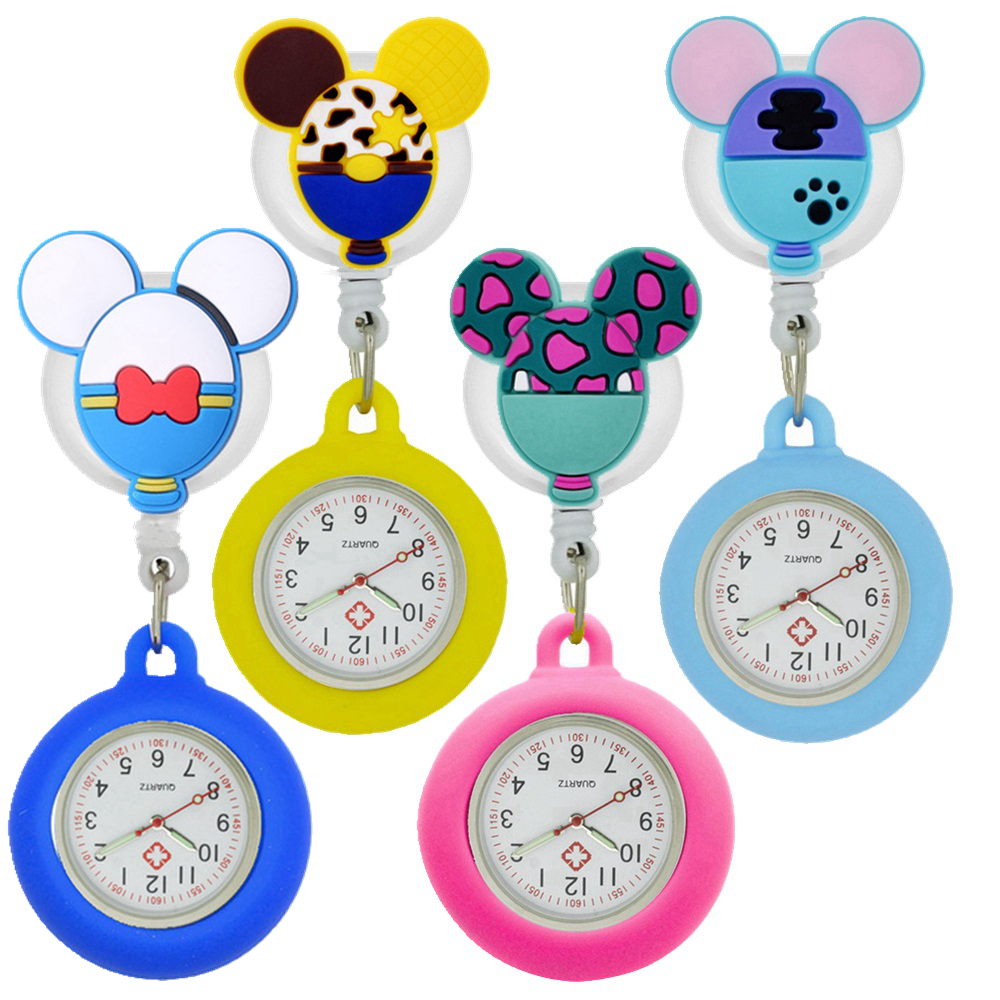 10pcs/lot lovely cartoon dolls nurse doctor Retractable silicone pocket watches for hospital medical women mens badge reel gift