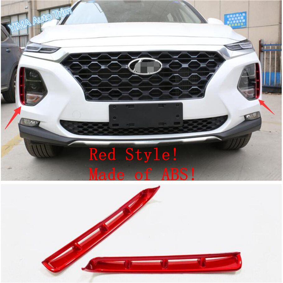 Lapetus Auto Styling Front Fog Lights Lamp Eyelid Eyebrow Strip Cover Trim Fit For <font><b>Hyundai</b></font> <font><b>Santa</b></font> <font><b>Fe</b></font> <font><b>2019</b></font> <font><b>2020</b></font> ABS Red / Chrome image