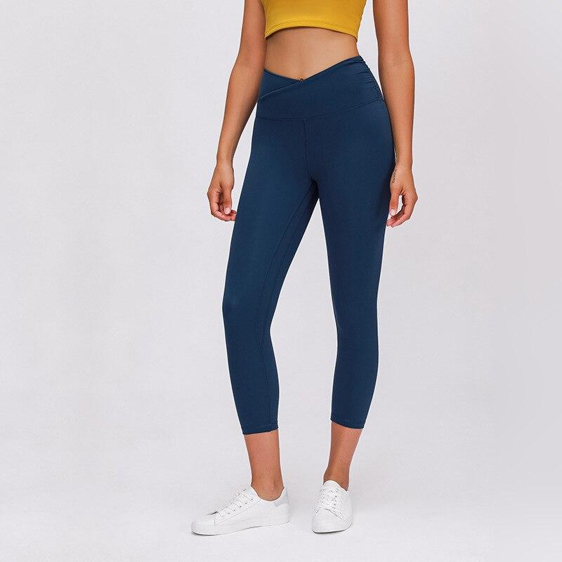 Wmuncc 2020 Women Yoga Pants Elastic High Waist Sports Leggings Quick Dry Capris 3/4 Running Trouser Female Crop Gym Tights