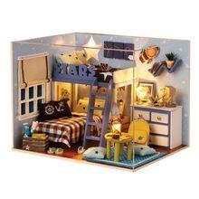 DIY Cabin Room Model Children Handmade Toy Kids Boys Girls Birthday Gifts Educational Toys E65D