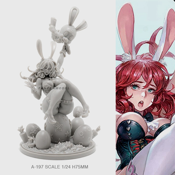 1/24 Resin Figure Kits Bunny Girl Beauty Model  Self-assembled (75mm) A-197