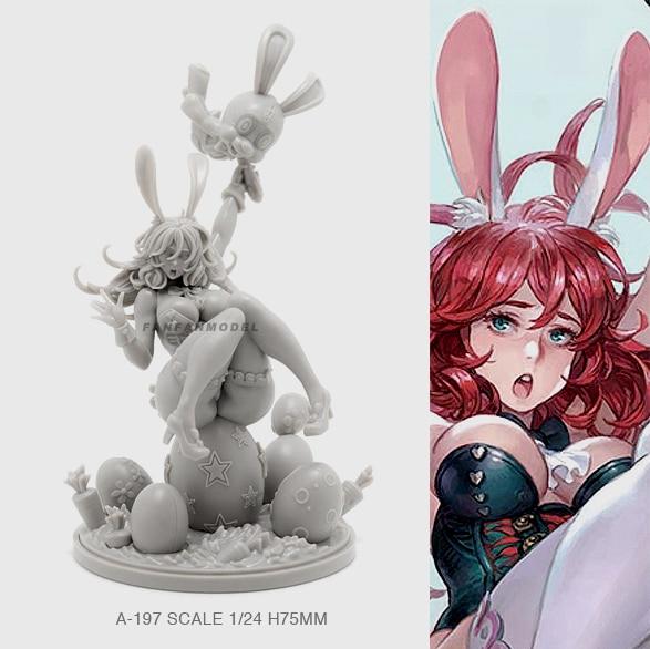 1/24 Resin Figure Kits Bunny Girl Beauty Model  Self-assembled (75mm) A-197