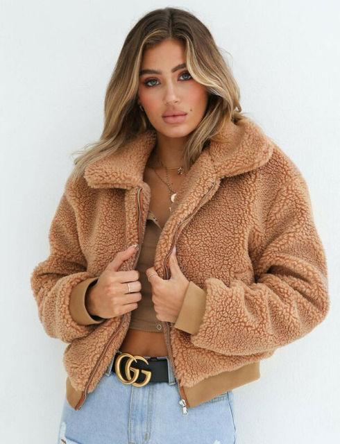 Women's Lady Teddy Bear Faux Fur Coats Jacket Borg OutwearClothes