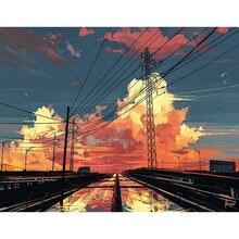 Diy картина по номерам небом пейзажем Раскраска 40x50 см wall