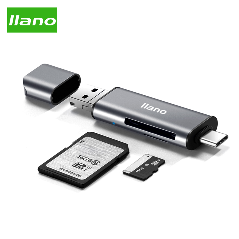 Llano Card Reader USB 2.0 Type C to SD Micro SD TF Adapter for Laptop Accessories OTG Cardreader Smart Memory SD Card Reader