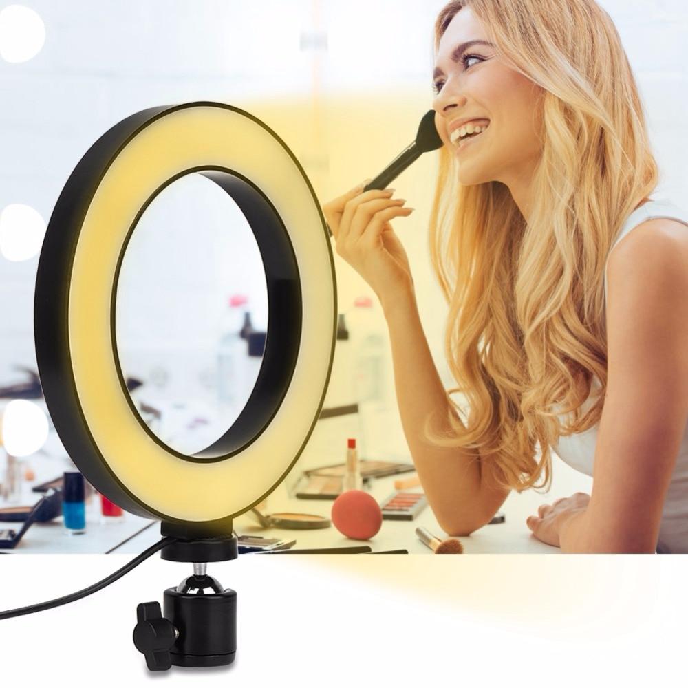 6 inç LED halka ışık Selfie lamba 10 seviyeleri parlaklık kısılabilir 3 işık modları oturma yayın/fotoğraf/kayıt