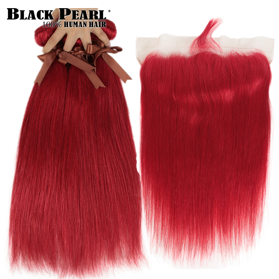 Black Pearl Orange Bundles With Frontal Straight Remy Hair Black Pearl Red Blonde Brazilian Hair Weave 2/3 Bundles With Frontal
