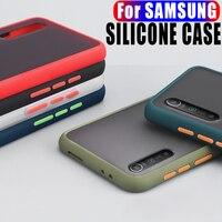 Caja Simple del teléfono para Samsung Galaxy Note 8 9 10 20 S8 S9 S10 más S20 A51 A71 A7 A9 A10S A30 A40 A50 A70 funda de silicona