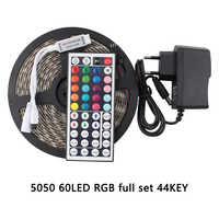 12V LED Strip Waterproof 5M SMD 5050 RGB LED Strip Warm White 60Leds/M Led Tape Home Decor Power Adapter 44Key Remote Full Set