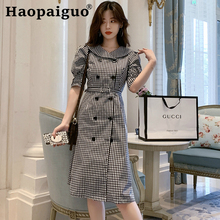 Large Size Houndstooth OL Work Office Dress Women Half Sleeve Double Button Midi Dress Women with Sashes A-line Bodycon Dress large size print plaid autumn winter dress women with sashes double button mini wrap dress women long sleeve office work dress