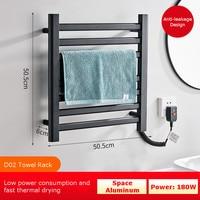Intelligent Thermostatic Electric Heating Towel Rack Shelf Space Aluminum Heating Household Towel Drying Racks Rail Towel Warmer