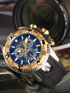 Quartz Watches Chronograph-Date Yellow Sports Top-Brand Tiger/rt Gold Luminous-Steel