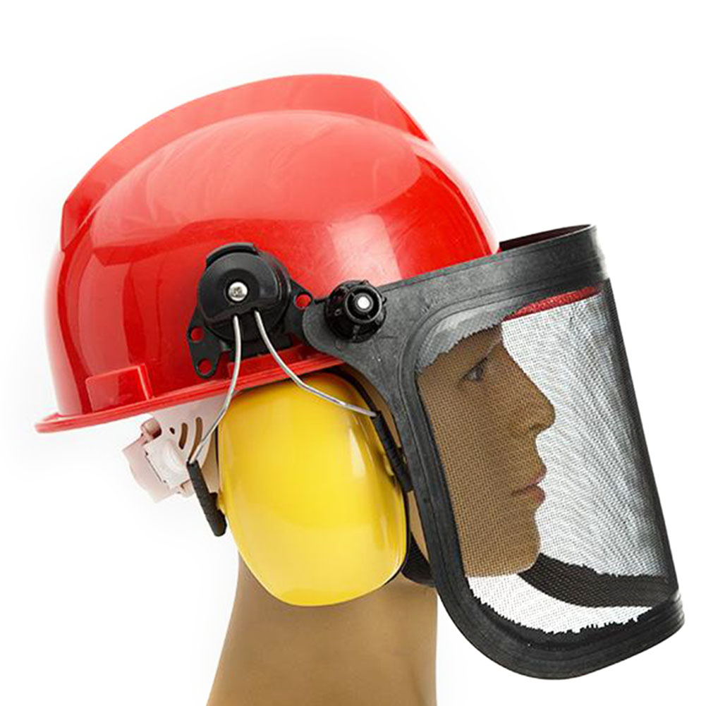 Full Face Mesh Grass Trimmer Helmet Outdoor Protective Mask Metal Visor Workplace Garden Ear Defenders 180 Degrees Adjustable