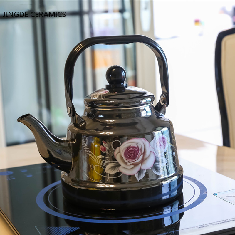 1.7L Retro black thick portable enamel pot home kettle gas stove fire cooker universal coffee milk Chinese medicine pot kettle