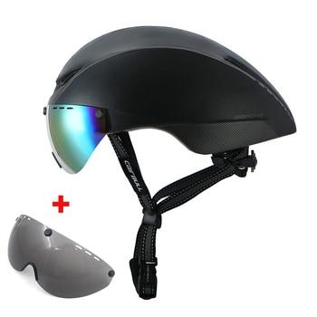 Casco de bicicleta de carretera con gafas para hombre mujer tt casco...