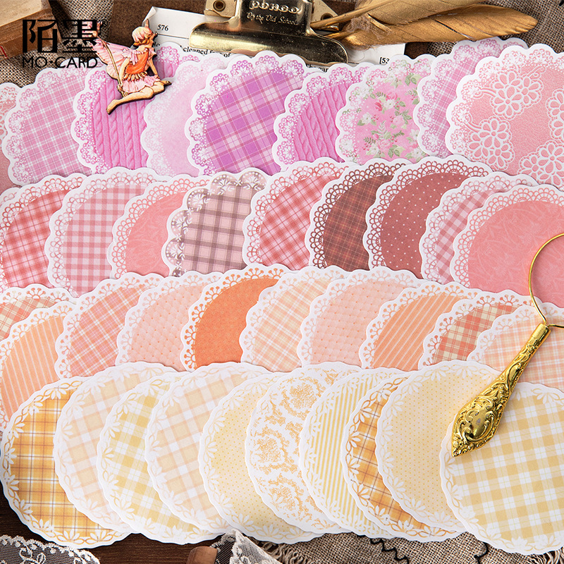 30pcs/pack Lace Series Kawaii Cute Background Memo Pad Diary Stationary Flakes Scrapbook Decorative Sticky Notes Grid Sticker